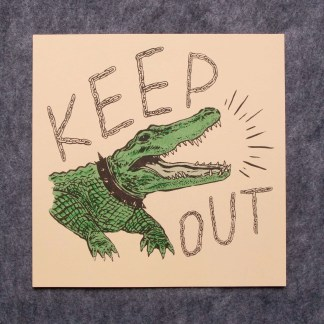 """Keep Out"" riso art print with a guardian alligator on a leash barking and keep out written in chain links"