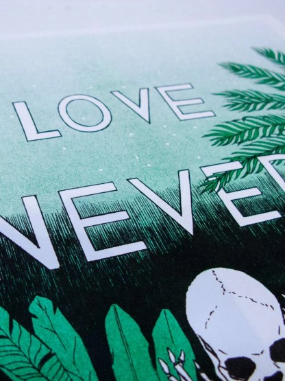 Risograph poster Love Never Dies by Mystic Multiples detail photograph