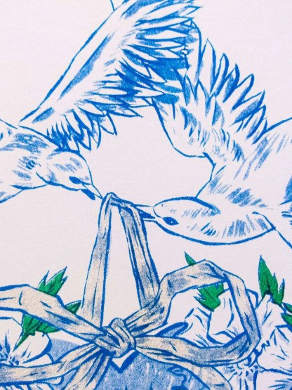 """Love is not a Panacea"" art print detail showing doves holding an ornament by ribbon"