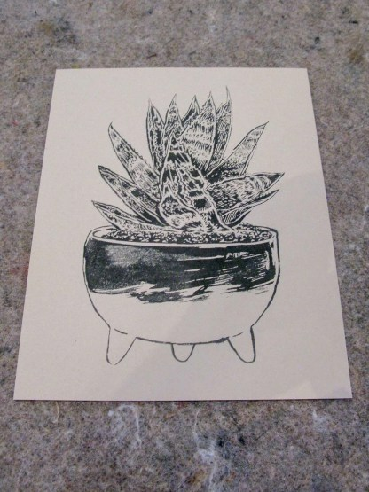 """Molcajete Plant"" risograph art print showing an illustration of a succulent in a salsa bowl"