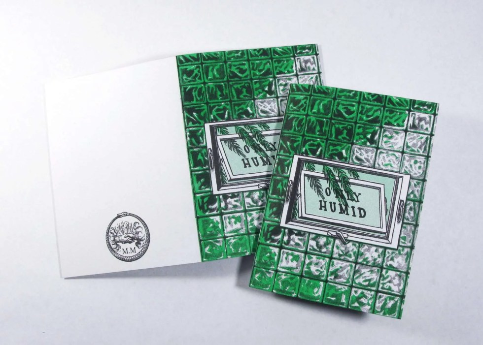 """Only Humid"" risograph zine front and back cover showing a tiled glass wall with a window displaying the title"