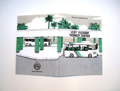 Endless Monsoon IV: Very Pleasant Transit Center risograph comic book by Sarah Welch cover showing an outdoor bus transit center with green columns