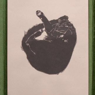 """Baby Kitty"" risograph art print showing a curled up black cat illustration on green background"