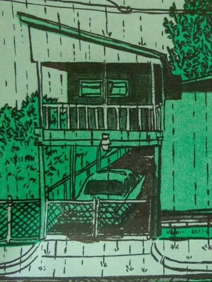 """Sudden Downpour"" riso art print detail of a carport attached to a home"