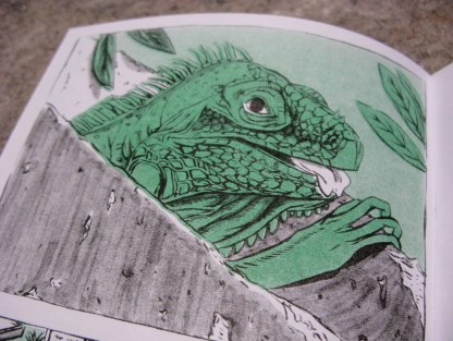 """Crypt Iguana"" risograph comic and zine inner page detail showing an iguana emmerging from a grave"