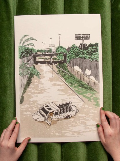 """Sinking Truck"" risograph art print showing a flooded pickup truck and a freeway under water"