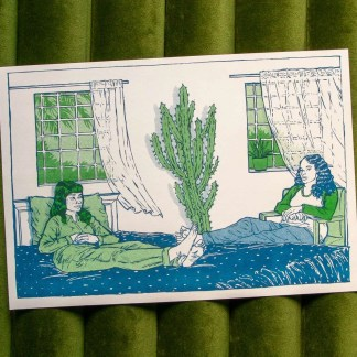 """Telepathy"" risograph art print showing two women sitting on beds facing each other, with windows, a breeze, and a large cactus in the background"