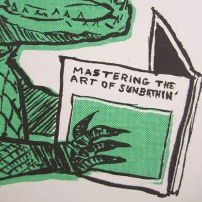 Risograph art print detail of an alligator hand holding a guide to sunbathing