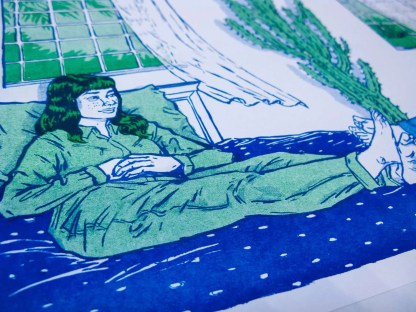 """Telepathy"" risograph art print zoomed in to show woman sitting with arms crossed on a bed with a slight smile"