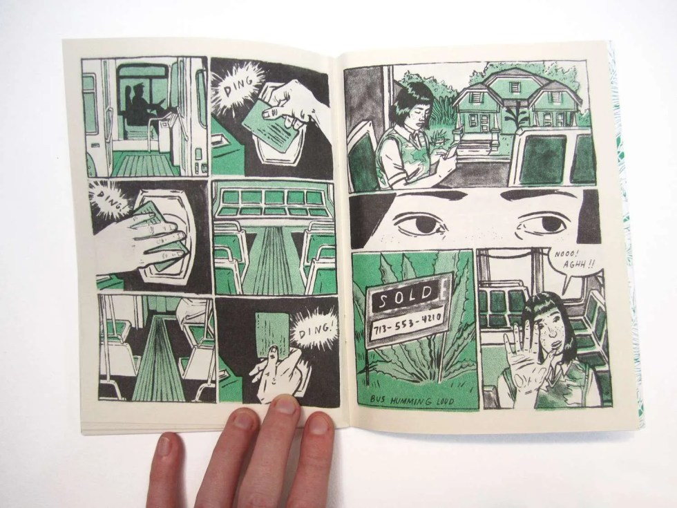 Endless Monsoon IV: Very Pleasant Transit Center risograph comic book by Sarah Welch inner page detail