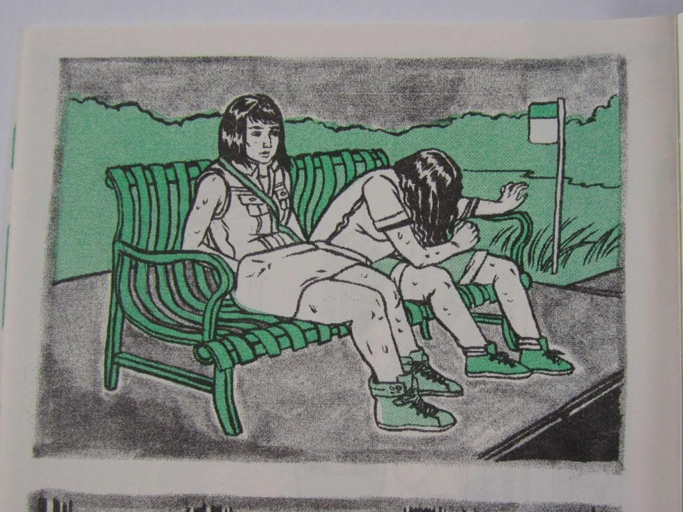 """Cry Me a River"" risograph comic inner detail of two women sitting at a bus stop bench"