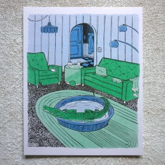 Art of alligator in kiddie pool in living room
