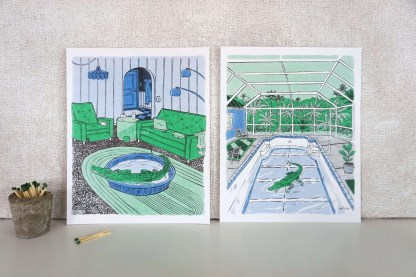 Art of an alligator in a swimming pool and an alligator in a pool in a living room