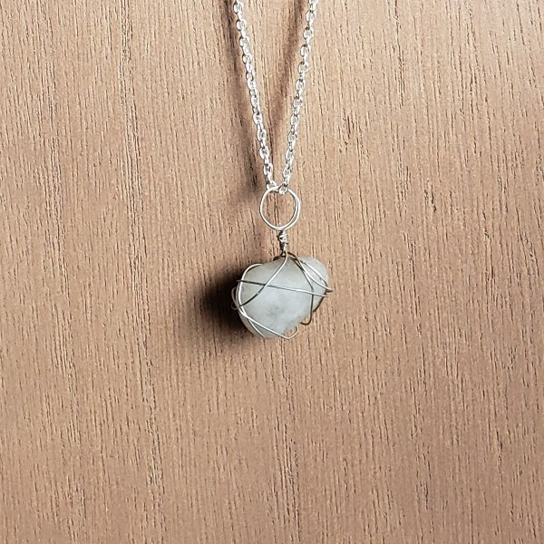 Handcrafted grey stone necklace