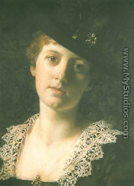 Woman in a Black Hat - Ladislas Wladislaw von Czachorski