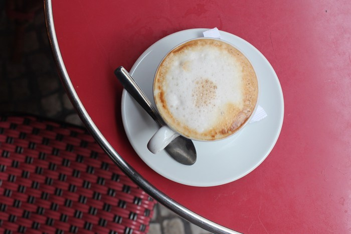 My morning cappuccino from the cafe below my room on Rue Montorgueil.
