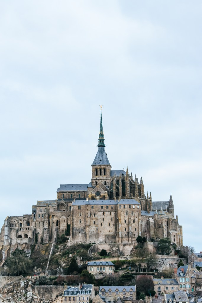 The towers of Mont Saint-Michel Monastery.