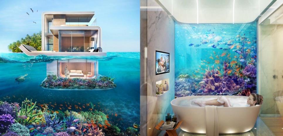 A Dubaï, le réseau Engel & Völkers commercialise des villas de luxe partiellement immergées avec vue sur le récif corallien.