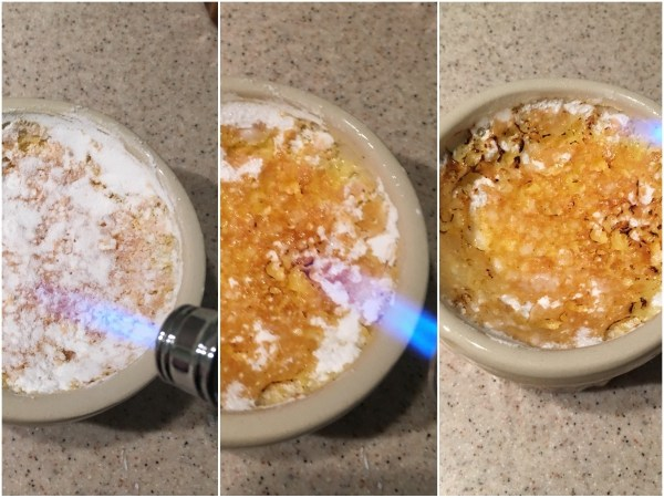 "Before serving, sprinkle about ½ tbsp of powdered <a href=""http://amzn.to/2fkjbll"" target= ""_blank"">erythritol</a> over each creme brulee. Use a blow torch to caramelise it. Erythritol will not caramelise as well as sugar, but it will do the job well enough to offer a similarly crispy experience."