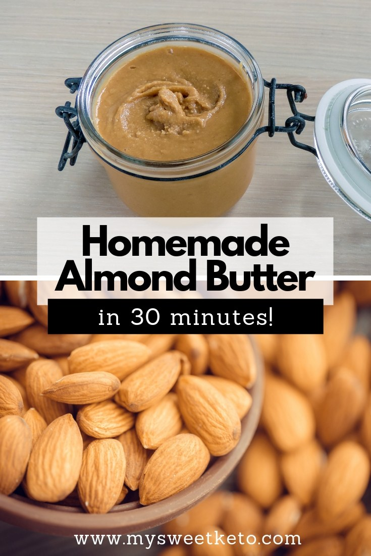 Homemade Almond Butter in 30 minutes. Almond butter can be a filling treat just eaten off a teaspoon, or a perfect ingredient in so many different keto recipes. #keto #ketogenic #lowcarb #almondbutter #homemade