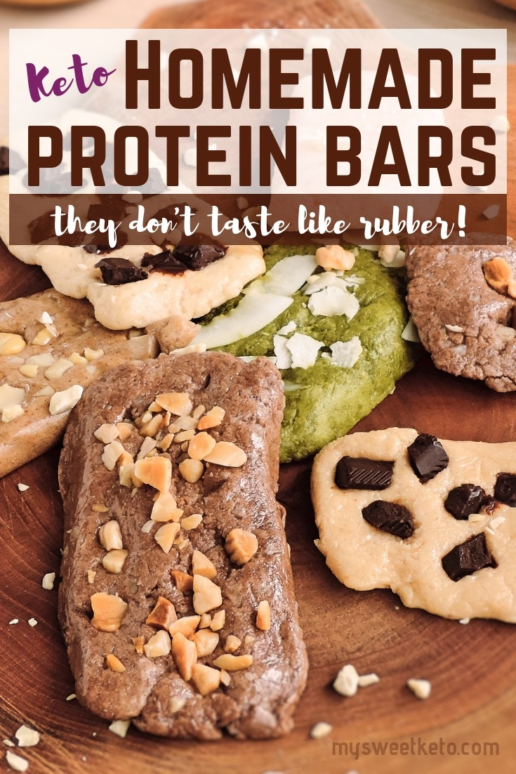 Keto Homemade Protein Bars - they don't taste like rubber. Some of the benefits of making your own homemade protein bars:You choose what type of protein powder you throw in. This way you are in control of the ingredients and possibly avoid lesspreferred sweeteners.You increase the amount of fat in the bar and decrease the amount of protein as you desire.You choose the type of flour/ meal that goes in. I use macadamia meal and/ or shredded coconut. You make a bar as big as you need for a snack. #keto #protein #homemade #proteinbars #recipe