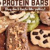Keto Homemade Protein Bars - they don't taste like rubber. Some of the benefits of making your own homemade protein bars:You choose what type of protein powder you throw in. This way you are in control of the ingredients and possibly avoid less preferred sweeteners.You increase the amount of fat in the bar and decrease the amount of protein as you desire.You choose the type of flour/ meal that goes in. I use macadamia meal and/ or shredded coconut. You make a bar as big as you need for a snack. #keto #protein #homemade #proteinbars #recipe