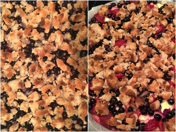 Bake for another 20 to 25 minutes or so. The crumble should turn dark brown, and the berries should not be boiling (anymore). The pie itself might still be a bit wobbly, but it will set when cooled.
