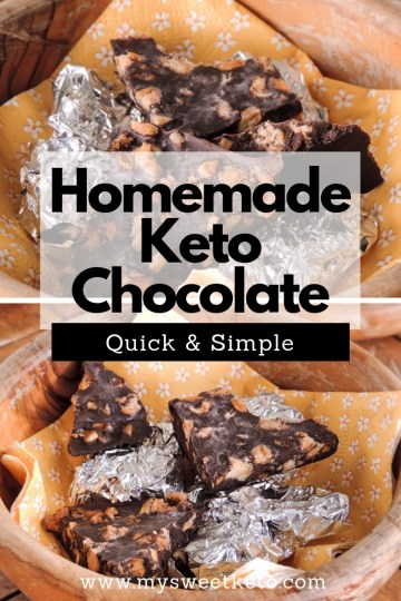 Homemade Keto Chocolate Recipe. By homemade keto chocolate I mean homemade, organic, dark, sugar-free chocolate. This is so simple. And horribly delicious. Enjoy! #keto #homemadechocolate #chocolate #recipe #lowcarb #ketodessert