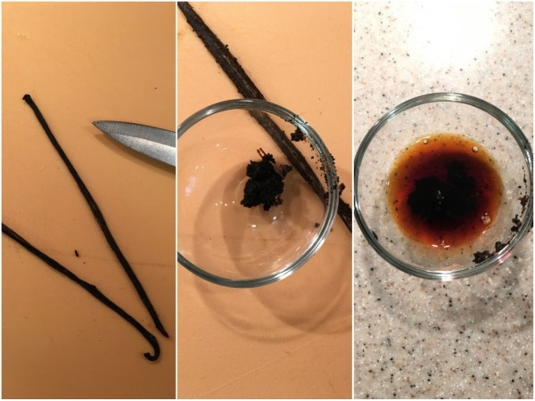 Split the vanilla bean lengthwise and scrape the seeds into a tiny bowl. Add the vanilla extract and mix to combine.