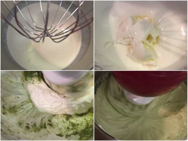 Using a stand electric mixer, whip the cream until almost firm. Add cream cheese and mix on medium high. Add erythritol, stevia extract (to taste) and matcha powder. Continue mixing until everything is well incorporated. <br><br>