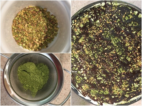 Sprinkle the melted chocolate all over the cake. Use a tablespoon of groud pistachio kernels for decoration. If you like, sprinkle some more matcha powder on top.