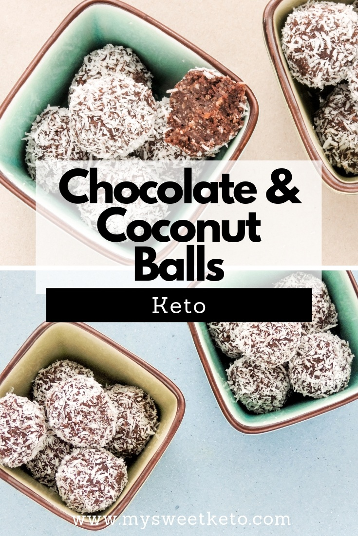 Seriously, these keto chocolate coconut balls are so tasty, albeit very high in fat, you won't know how to stop with only two. #keto #ketogenic #lowcarb #recipe #mysweetketo