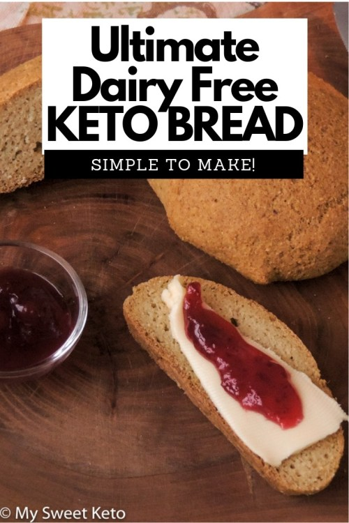 This is our absolute favorite cheese-free keto bread recipe. It is SIMPLE to make, fool-proof, and NOT eggy at all! Goes well with sweet and savoury foods. #keto #ketobread #ketogenic #bread #recipe #lowcarb #mysweetketo