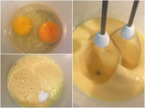 In a medium bowl, mix the eggs until pale and fluffy. Add in all the dry ingredients and mix well again.