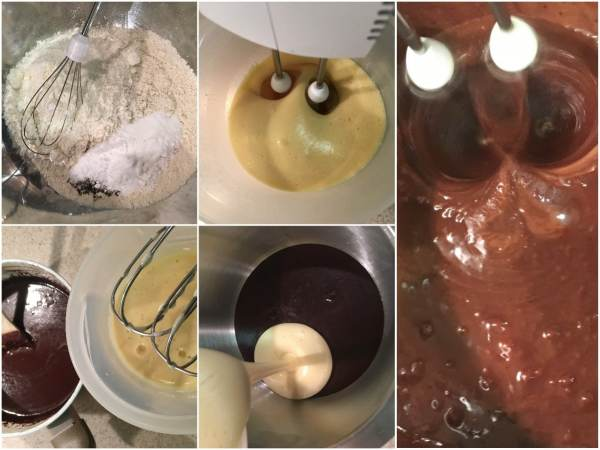 In a medium bowl, whisk together the flours, baking soda, salt, pepper, and cloves. <br> In another medium bowl, using an electric mixer, whisk together eggs and vanilla extract. Now, slowly whisk egg mixture into chocolate mixture.