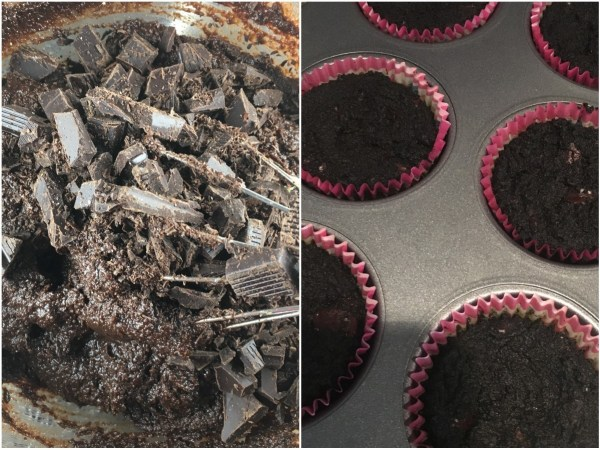 """Fold in chopped <a href=""""http://amzn.to/2qNNzK3"""" target=""""_blank"""">chocolate</a>. Distribute into 12 <a href=""""http://amzn.to/2qNOHgF"""" target=""""_blank"""">cupcake baking cups</a>. Bake for approximately 25 minutes."""
