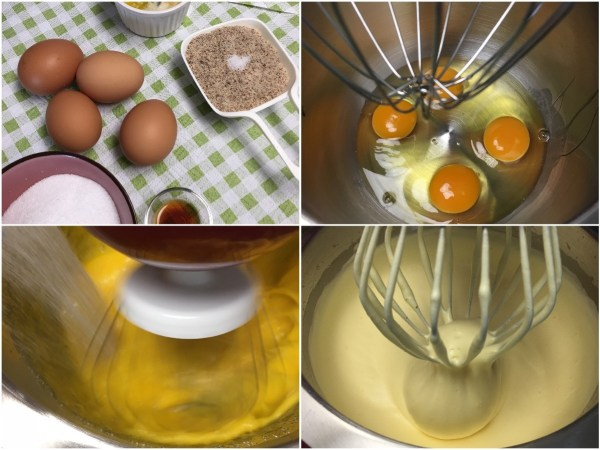 "Using a <a href=""http://amzn.to/2eKRdmE"" target=""_blank"">stand electric mixer</a>, beat the eggs for 1 minute on high. Leaving <a href=""http://amzn.to/2eKRdmE"" target=""_blank"">the mixer</a> on, slowly add in <a href=""http://amzn.to/2eKzzj2"" target=""_blank"">erythritol</a> and continue beating for whole 8 minutes. The mixture will become thick and fluffy."