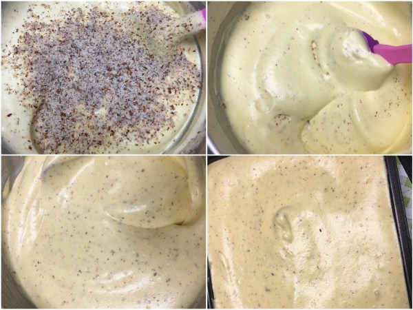 """Whisk together <a href=""""http://amzn.to/2uTlLJi"""" target=""""_blank"""">ground almonds</a> and salt and slowly add to the egg mixture. Fold in carefully with a <a href=""""http://amzn.to/2vXeq8i"""" target=""""_blank"""">spatula</a>. Scrape the bottom of the bowl to make sure all the <a href=""""http://amzn.to/2uTlLJi"""" target=""""_blank"""">almonds</a>are folded into the batter. Do not over mix. <br><br>Pour the batter into the <a href=""""http://amzn.to/2eKuEON"""" target=""""_blank"""">baking pan</a>  and bake immediately for 15 minutes, or until a toothpick comes out clean."""