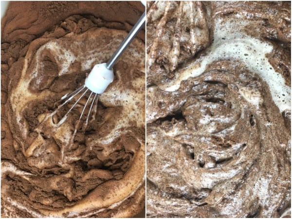 Carefully fold the flour-cocoa mixture into the egg mixture and stir until just combined.