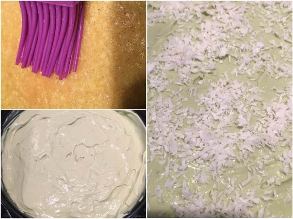 """After you have soaked the sponge cake with a <a href=""""http://amzn.to/2izQ2b2"""" target=""""_blank"""">brush</a>, frost the top and the sides with the matcha cream filling. Sprinkle with some shredded coconut."""