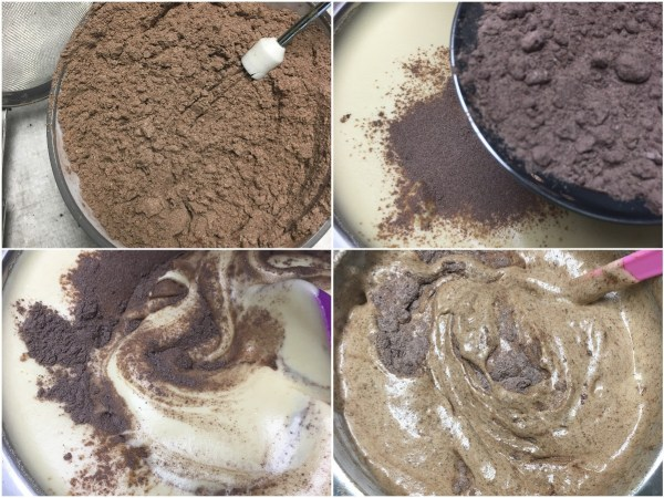 """Whisk together <a href=""""http://amzn.to/2fFbr1H"""" target=""""_blank"""">almond flour and <a href=""""http://amzn.to/2fEYpRU"""" target=""""_blank"""">cocoa powder</a> and sift in thirds into batter. Fold with a <a href=""""http://amzn.to/2vXeq8i"""" target=""""_blank"""">spatula</a> between each addition. Once all flour is in, continue to fold just until no streaks of flour remain, scraping the bottom of the bowl to get any pockets of flour. We do not want to over-mix and deflate the batter."""