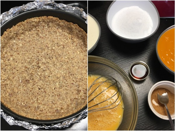 """Bring the oven temperature down to 325°F (160°C). Prepare all of the above ingredients. Wrap the <a href=""""http://amzn.to/2xTwYsq"""" target=""""_blank"""">springform pan</a> with <a href=""""http://amzn.to/2yWOtID"""" target=""""_blank"""">aluminum foil</a>. Make sure no water can get into the pan. Place it in a roasting pan."""