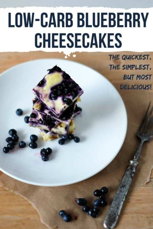 Low Carb Blueberry Cheesecakes Recipe by My Sweet Keto. The quickest, the simplest, but most delicious! The recipe below is ridiculously simple to make, more so if you can get hold of fresh berries. If not, frozen will do, but I would make sure to unfreeze them well and drain the excess liquid. Not many more tips that I can give out here because there's nothing complicated about the procedure. #keto #ketogenic #cheesecakes