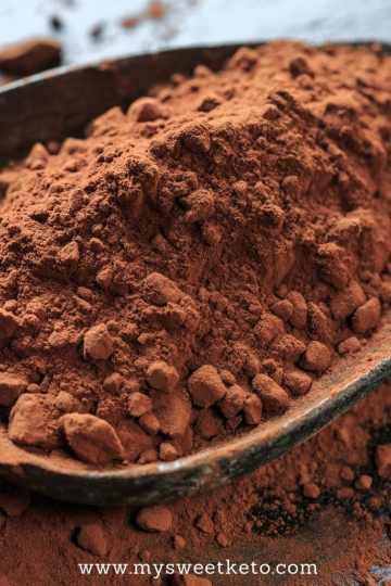 All you need to know about cocoa powder for keto baking in one place! This is an amazing ingredient to use when making chocolate-flavored keto desserts! #ketogenic