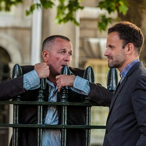 """Step Nine""--- Sherlock Holmes (Jonny Lee Miller, right) travels to London to track down his old mentor, Gareth Lestrade (Sean Pertwee, left), who finds himself on the wrong side of the law on the second season premiere of ELEMENTARY, Thurs. Sept. 26 (10:00 – 11:00 PM, ET/PT) on the CBS Television Network. Photo: Joss Barratt /CBS ©2013 CBS Broadcasting, Inc. All Rights Reserved"