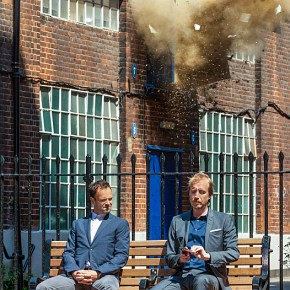 """Step Nine"" -- Holmes (Jonny Lee Miller) travels to London to help track down his old mentor and finds himself in the middle of an unsolved mystery on the second season premiere of ELEMENTARY, Thurs. Sept. 26 (10:00 – 11:00 PM, ET/PT) on the CBS Television Network. Also Pictured Rhys Ifans Guest Stars as Mycroft Holmes, Sherlock's Estranged Brother Photo: Joss Barratt /CBS ©2013 CBS Broadcasting, Inc. All Rights Reserved"