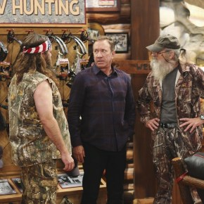 """LAST MAN STANDING - """"Back to School"""" - Willie Robertson and his uncle, Si Robertson, two of the stars from the hit reality show A&E's """"Duck Dynasty,"""" will make their acting debut when they guest star in the Season Premiere of """"Last Man Standing,"""" FRIDAY, SEPTEMBER 20 (8:00-8:31 p.m., ET) on the ABC Television Network. In the episode, """"Back to School,"""" Mike finds that Mandy's steady boyfriend Kyle's new interest in philosophy is distracting him from his work at The Outdoor Man Store. A solution may be in the offing when camo-wearing and regular customers Brody (Willie Robertson) and Uncle Ray (Si Robertson) come to the sporting goods store to get outfitted for their annual moose hunting expedition. Meanwhile, Mike is skeptical about his grandson Boyd attending a bilingual school and wants Kristin and Ryan to switch Boyd to a school in his neighborhood. (ABC/Michael Ansell)"""