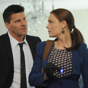 "BONES: Brennan (Emily Deschanel, R) and Booth (David Boreanaz, L) investigate the murder of a state department accountant, whose remains were found in a hotel air conditioning unit in the ""The Secrets in the Proposal"" season premiere episode of BONES airing Monday, Sept. 16 (8:00-9:00 PM ET/PT) on FOX. ©2013 Fox Broadcasting Co. Cr: Ray Mickshaw/FOX"