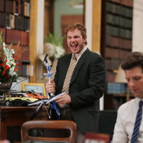 "PARKS AND RECREATION -- ""London"" Episode 601/602 -- Pictured: (l-r) Chris Pratt as Andy Dwyer, Adam Scott as Ben Wyatt -- (Photo by: Tim Whitby/NBC)"
