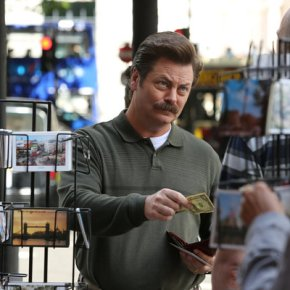 "PARKS AND RECREATION -- ""London"" Episode 601/602 -- Pictured: Nick Offerman as Ron Swanson -- (Photo by: Tim Whitby/NBC)"